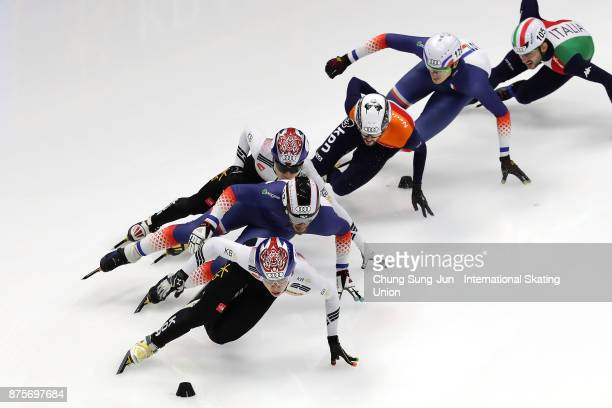 Thibaut Fauconnet of France Lim HyoJun of South Korea Seo YiRa of South Korea and Itzhak de Laat of Netherlands compete in the Men 1500m Semifinals...