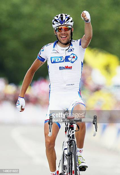 Thibaut Pinot of France and FDJ Bigmat celebrates as he crosses the finish line to win stage eight of the 2012 Tour de France from Belfort to...