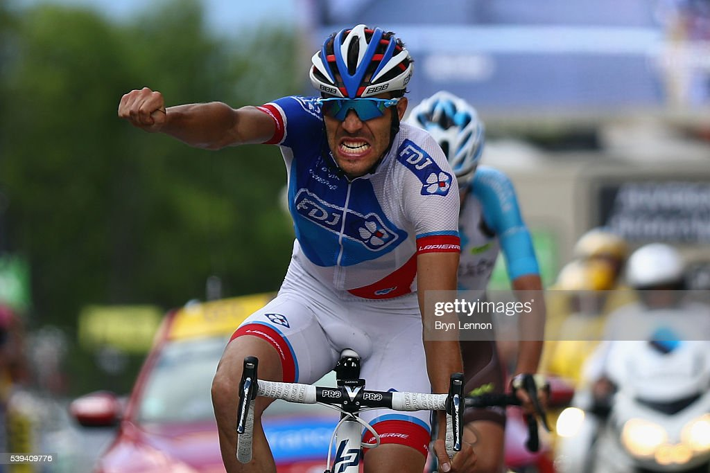 <a gi-track='captionPersonalityLinkClicked' href=/galleries/search?phrase=Thibaut+Pinot&family=editorial&specificpeople=6335753 ng-click='$event.stopPropagation()'>Thibaut Pinot</a> of France and FDJ celebrates winning stage six of the 2016 Criterium du Dauphine, a 141km stage from La Rochette to Meribel, on June 11, 2016 in Meribel, France.