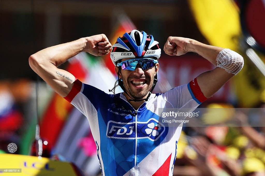 L'ALPE D'HUEZ, FRANCE - JULY 25: <a gi-track='captionPersonalityLinkClicked' href=/galleries/search?phrase=Thibaut+Pinot&family=editorial&specificpeople=6335753 ng-click='$event.stopPropagation()'>Thibaut Pinot</a> of France and FDJ celebrates winning the twentieth stage of the 2015 Tour de France, a 110.5 km stage between Modane Valfrejus and L'Alpe d'Huez on July 25, 2015 in L'Alpe d'Huez, France.