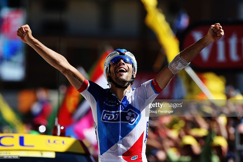 <a gi-track='captionPersonalityLinkClicked' href=/galleries/search?phrase=Thibaut+Pinot&family=editorial&specificpeople=6335753 ng-click='$event.stopPropagation()'>Thibaut Pinot</a> of France and FDJ celebrates winning the twentieth stage of the 2015 Tour de France, a 110.5 km stage between Modane Valfrejus and L'Alpe d'Huez on July 25, 2015 in L'Alpe d'Huez, France.