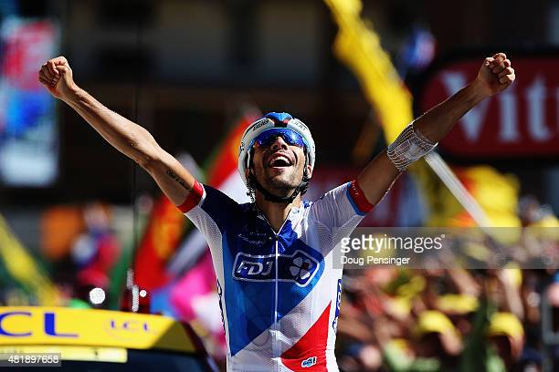 L'ALPE D'HUEZ FRANCE JULY 25 Thibaut Pinot of France and FDJ celebrates winning the twentieth stage of the 2015 Tour de France a 1105 km stage...