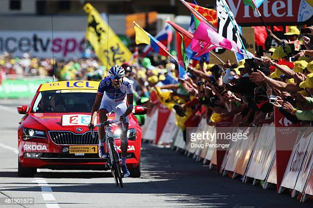 L'ALPE D'HUEZ FRANCE JULY 25 Thibaut Pinot of France and FDJ sprints for the finish line to win the twentieth stage of the 2015 Tour de France a 1105...
