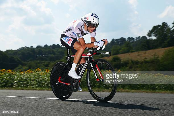 Thibaut Pinot of France and FDJfr in action during the twentieth stage of the 2014 Tour de France a 54km individual time trial stage between Bergerac...