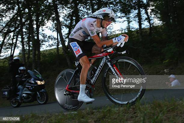 Thibaut Pinot of France and FDJfr races to 12th place in the individual time trial as he defended the best young rider's white jersey during the...