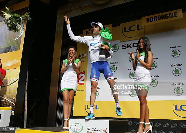 Thibaut Pinot of France and FDJfr retains the best young rider's white jersey after stage twenty of the 2014 Tour de France a 54 km individual time...