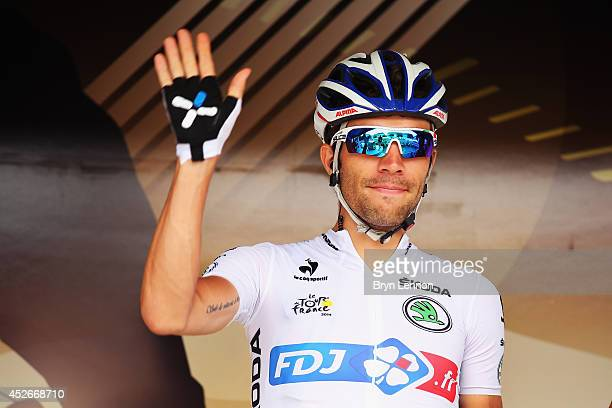 Thibaut Pinot of France and FDJfr signs on ahead of the nineteenth stage of the 2014 Tour de France a 208km stage between Maubourguet Pays du Val...