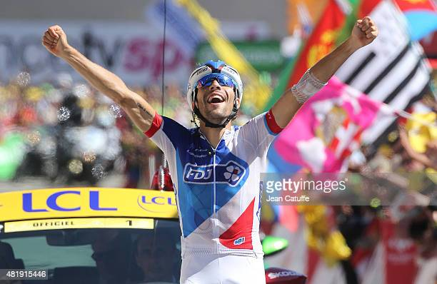 Thibaut Pinot of France and Team FDJ celebrates winning stage twentieth of the 2015 Tour de France a 110 km stage from Modane to Alpe D'Huez on July...