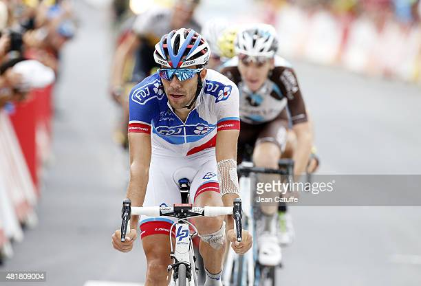 Thibaut Pinot of France and Team FDJ crosses the finish line during stage nineteenth of the 2015 Tour de France a 138 km stage from Saint Jean de...