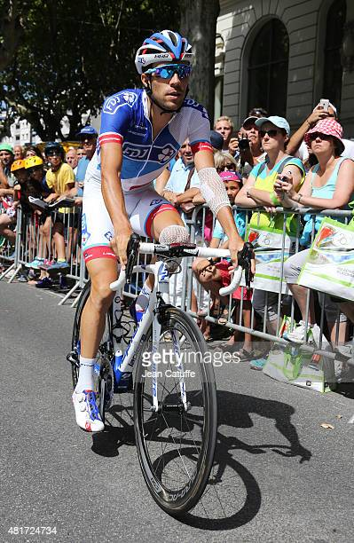 Thibaut Pinot of France and Team FDJ gets ready for stage eighteenth of the 2015 Tour de France a 1865 km stage from Gap to Saint Jean de Maurienne...