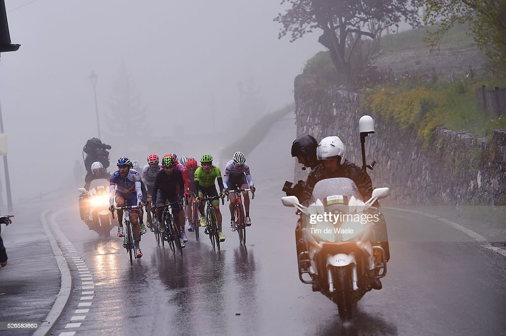Thibaut Pinot of France, Nairo Quintana of Columbia Rigoberto Uran of Columbia in the fog at the final climb towards Villars during stage 4 of the Tour de Romandie on April 30, 2016 in Villars-sur-Ollon, Switzerland.