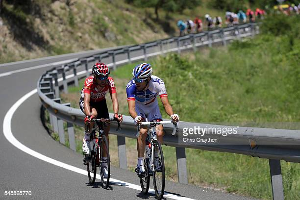 Thibaut Pinot of France riding for FDJ and Thomas De Gendt of Belgium riding for Lotto Soudal ride in the breakaway during stage nine of the 2016 Le...