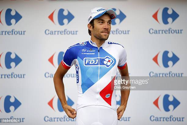 Thibaut Pinot of France riding for FDJ poses for a photo on the podium in the king of the mountains jersey following stage ten of the 2016 Le Tour de...
