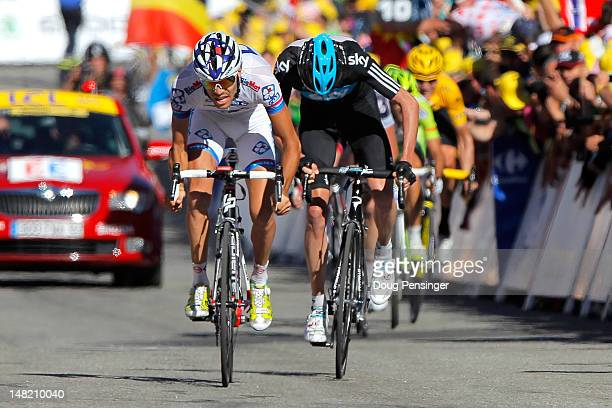 Thibaut Pinot of France riding for FDJBig Mat sprints to second place ahead of Christopher Froome of Breat Britain riding for Sky Procycling in third...