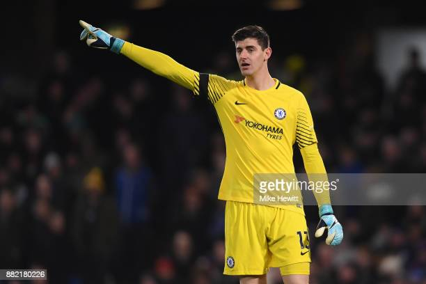 Thibout Courtois of Chelsea shouts instructions during the Premier League match between Chelsea and Swansea City at Stamford Bridge on November 29...