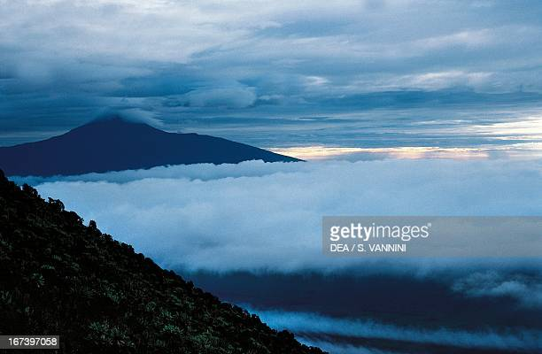 Thick blanket of fog wrapped around Mount Nyragongo Democratic Republic of Congo