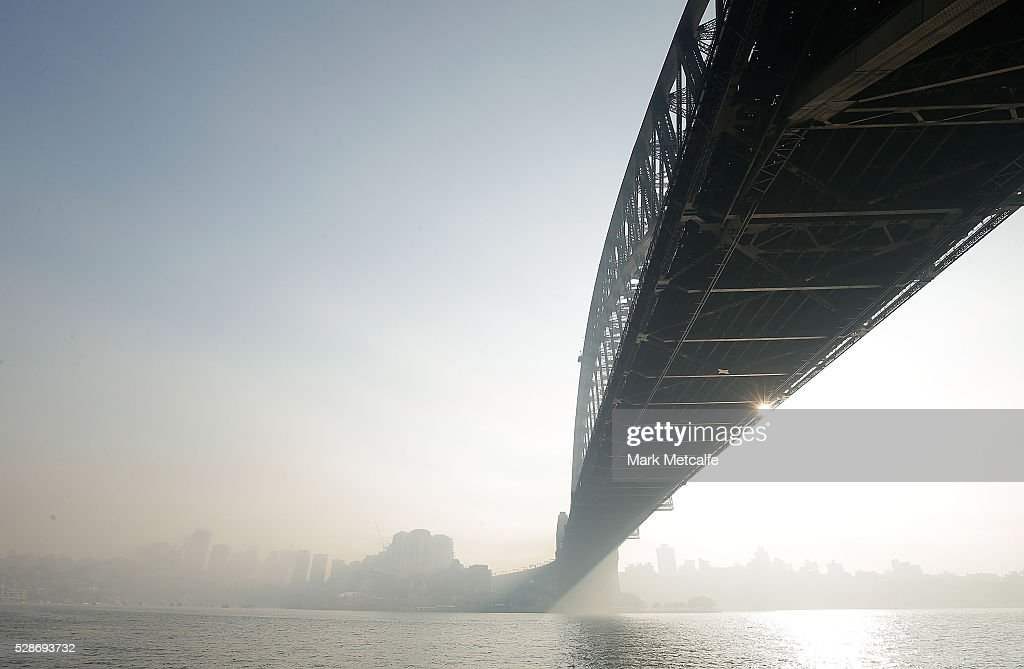 Thick cloud is seen over North Sydney and the Sydney Harbour Bridge on May 7, 2016 in Sydney, Australia. Hazard reduction burning in the Blue mountains left Sydney covered in a smokey haze, with over 40 back-burning operations underway in the region.