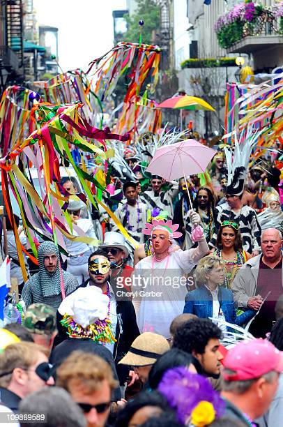 A thick crowd of revelers in the French Quarter fill the streets on Mardi Gras March 8 2011 in News Orleans Louisiana Mardi Gras or Fat Tuesday is...