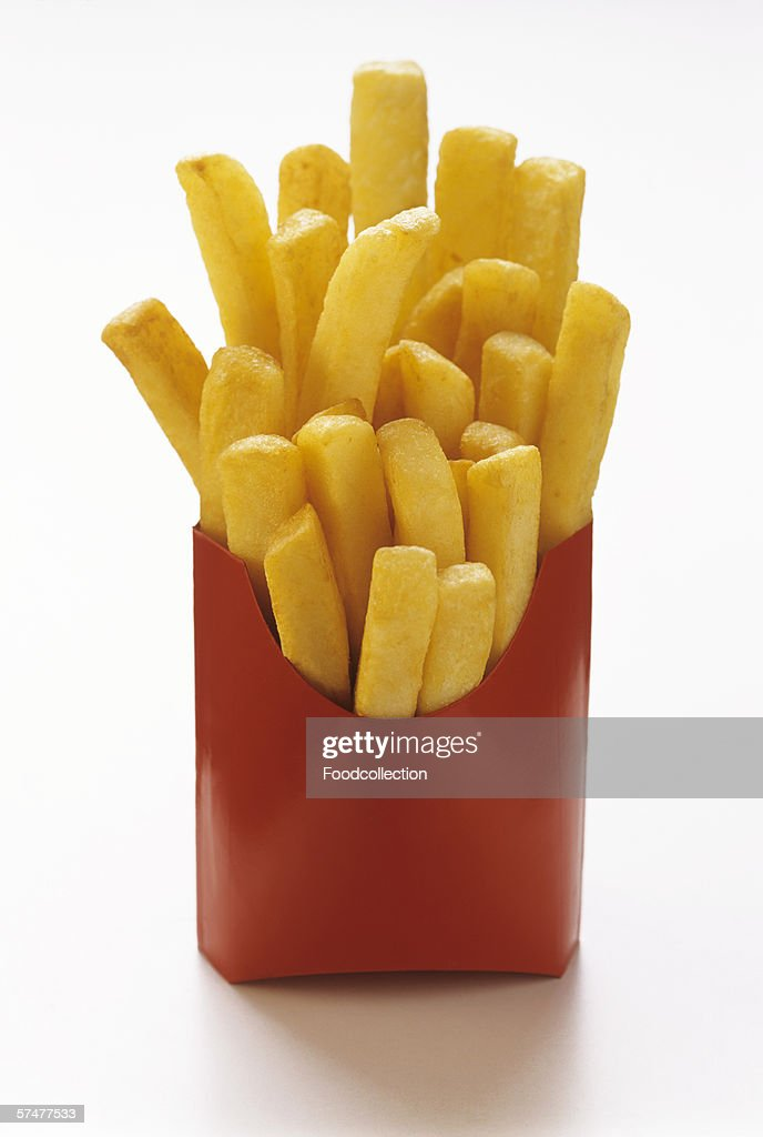 Thick Cut Fries in Red Fast Food Box : Stock Photo