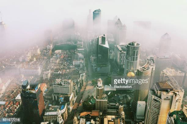 Thick fog  in the City