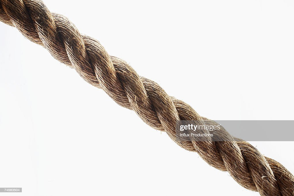 Thick rope on white background, close-up