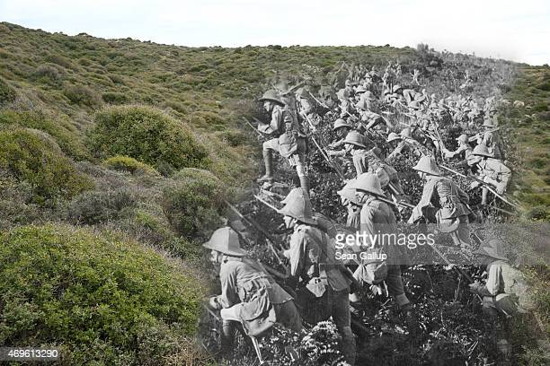 This digital composite image shows British troops advancing up a hillside on the Gallipoli Peninsula on August 6 2015 and a hillside at Suvla Bay...