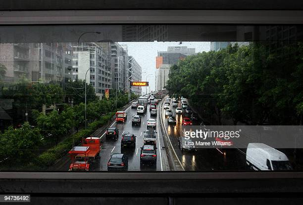 Thick traffic makes its way towards the Sydney Harbour Bridge as bus drivers hold a 24hour stoppage on December 18 2009 in Sydney Australia Drivers...