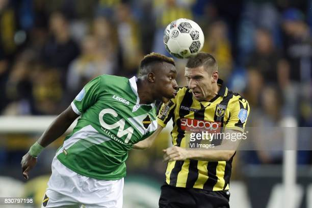 Thierry Ambrose of NAC Breda Arnold Kruiswijk of Vitesse during the Dutch Eredivisie match between Vitesse Arnhem and NAC Breda at Gelredome on...