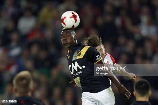 Thierry Ambrose of NAC Breda JanArie van der Heijden of Feyenoord during the Dutch Eredivisie match between Feyenoord Rotterdam and NAC Breda at the...