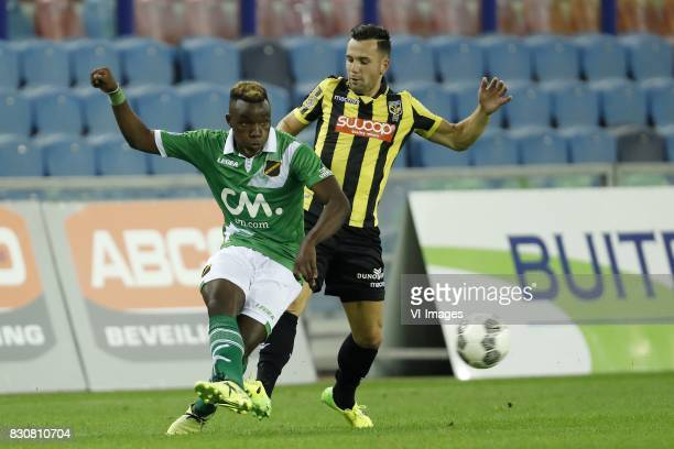Thierry Ambrose of NAC Breda Thomas Bruns of Vitesse during the Dutch Eredivisie match between Vitesse Arnhem and NAC Breda at Gelredome on August 12...