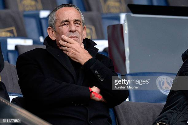 Thierry Ardisson attends the Ligue 1 game between Paris SaintGermain and Stade de Reims at Parc des Princes on February 20 2016 in Paris France