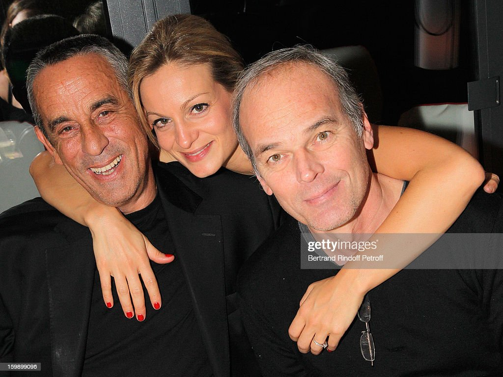 <a gi-track='captionPersonalityLinkClicked' href=/galleries/search?phrase=Thierry+Ardisson&family=editorial&specificpeople=3156014 ng-click='$event.stopPropagation()'>Thierry Ardisson</a>, his companion Audrey Crespo-Mara and Laurent Baffie attend 'La Petite Maison De Nicole' Inauguration Cocktail at Hotel Fouquet's Barriere on January 22, 2013 in Paris, France.