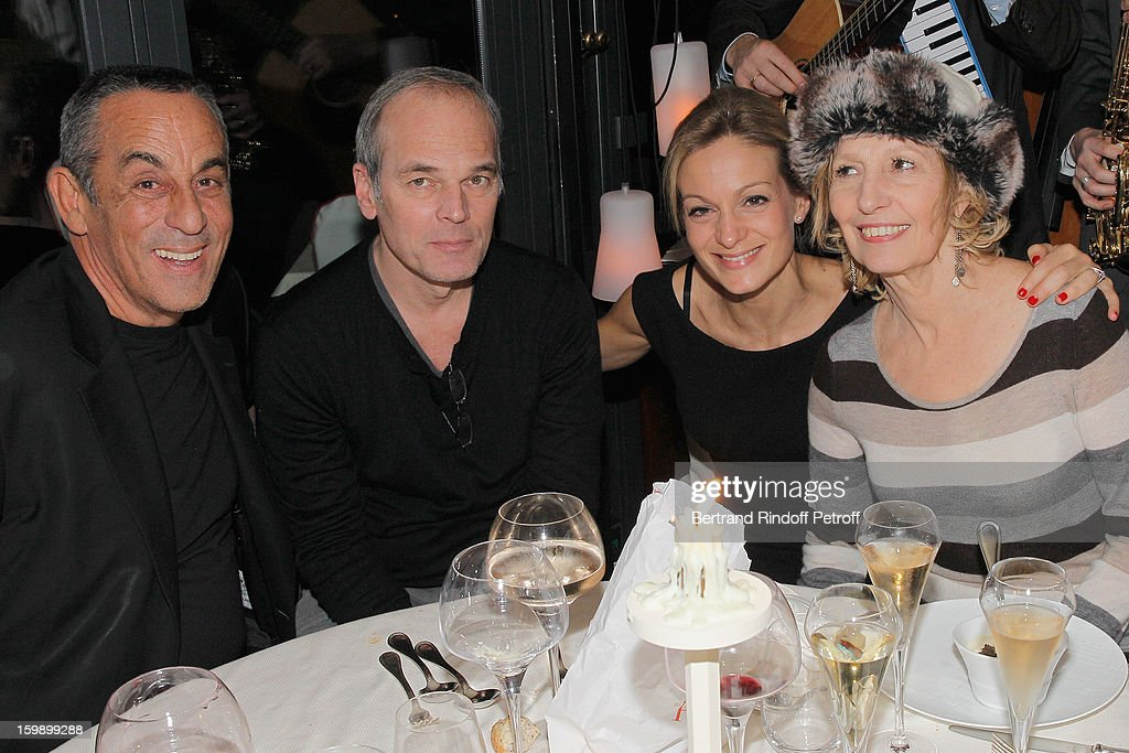 <a gi-track='captionPersonalityLinkClicked' href=/galleries/search?phrase=Thierry+Ardisson&family=editorial&specificpeople=3156014 ng-click='$event.stopPropagation()'>Thierry Ardisson</a>, Laurent Baffie, Ardisson's companion Audrey Crespo-Mara and Catherine Barma attend 'La Petite Maison De Nicole' Inauguration Cocktail at Hotel Fouquet's Barriere on January 22, 2013 in Paris, France.