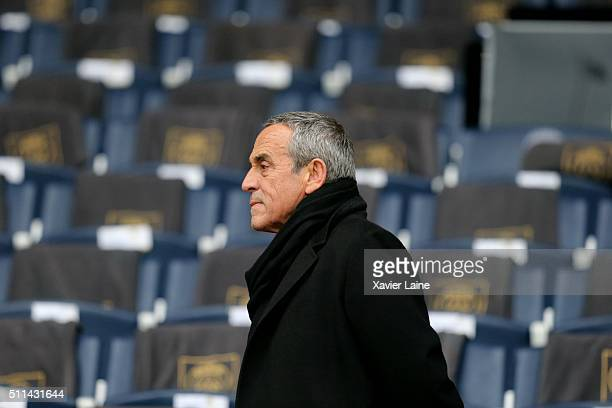 Thierry Ardisson reacts during the French Ligue 1 between Paris SaintGermain and Stade de Reims at Parc Des Princes on february 20 2016 in Paris...