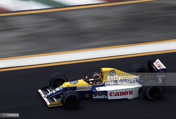 Thierry Boutsen of Belgium drives the Canon Williams Renault Williams FW13B Renault 35 V10 during the Mexican Grand Prix on 24th June 1990 at the...