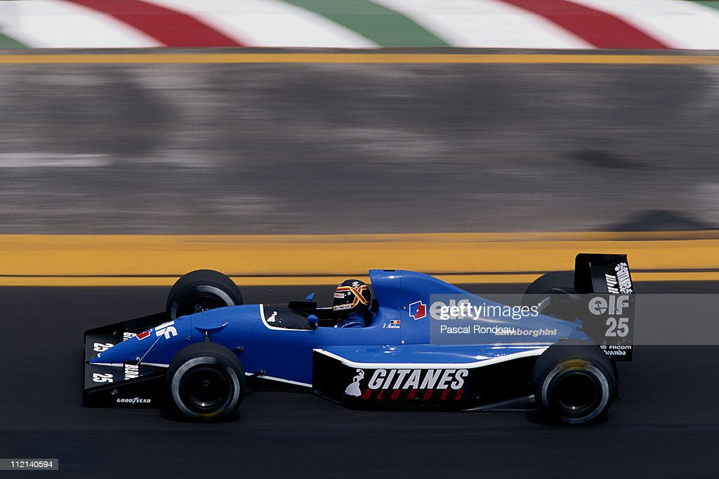 Thierry Boutsen of Belgium drives the #25 Ligier Gitanes Ligier JS35 Lamborghini 3.5 V12 during the Mexican Grand Prix on 16th June 1991 at the Autodromo Hermanos Rodríguez in Mexico City, Mexico.