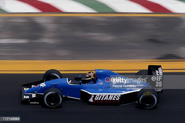 Thierry Boutsen of Belgium drives the Ligier Gitanes Ligier JS35 Lamborghini 35 V12 during the Mexican Grand Prix on 16th June 1991 at the Autodromo...