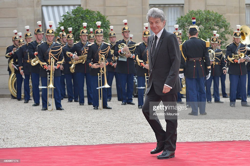 <a gi-track='captionPersonalityLinkClicked' href=/galleries/search?phrase=Thierry+Breton&family=editorial&specificpeople=536439 ng-click='$event.stopPropagation()'>Thierry Breton</a> arrives to a State Dinner given by French President Francois Hollande in honor of Mexican President Enrique Pena Nieto and his wife Angelica Rivera at Elysee Palace on July 16, 2015 in Paris, France. The diner takes place after the strategical meeting between the two presidents to talk about the universel abolition of the death penalty and their cooperation to maintain world peace.