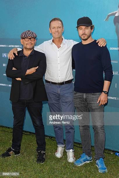 Thierry Demaiziere Rocco Siffredi and Alban Teurlai attend a photocall for 'Rocco' during the 73rd Venice Film Festival at Villa degli Autori on...