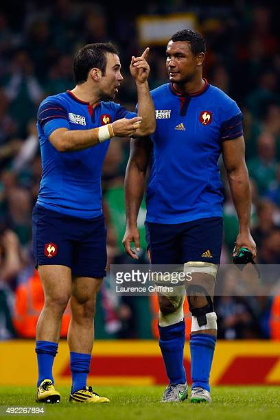 Thierry Dusautoir and Morgan Parra of France after the 2015 Rugby World Cup Pool D match between France and Ireland at Millennium Stadium on October...