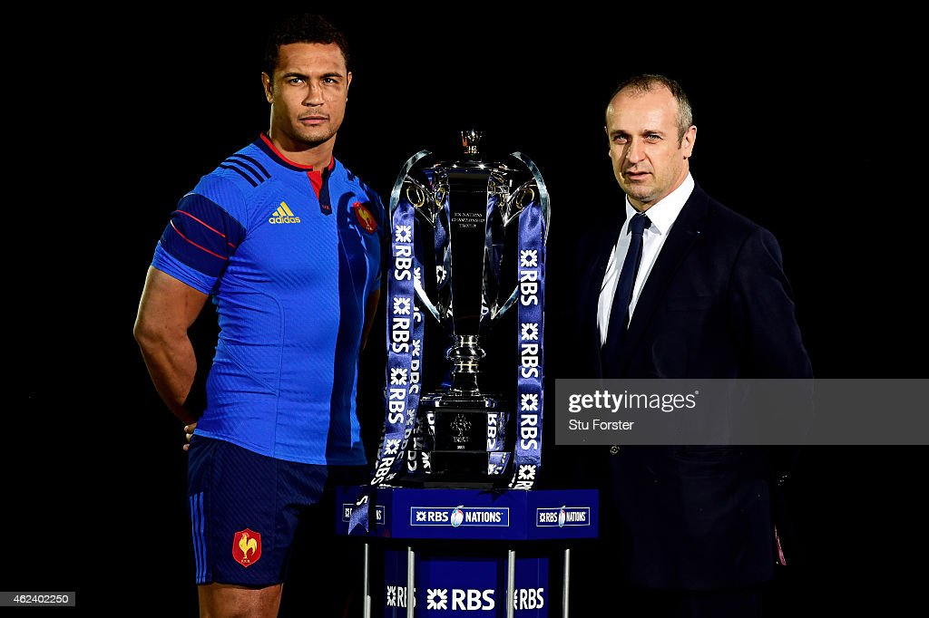 Thierry Dusautoir of France and Philippe Saint Andre pose with the trophy during the launch of the 2015 RBS Six Nations at the Hurlingham club on January 28, 2015 in London, England.