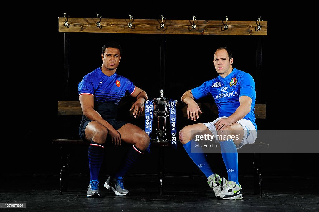 Thierry Dusautoir of France and Sergio Parisse of Italy pose with the RBS Six Nations trophy during the RBS Six Nations Launch at The Hurlingham Club...