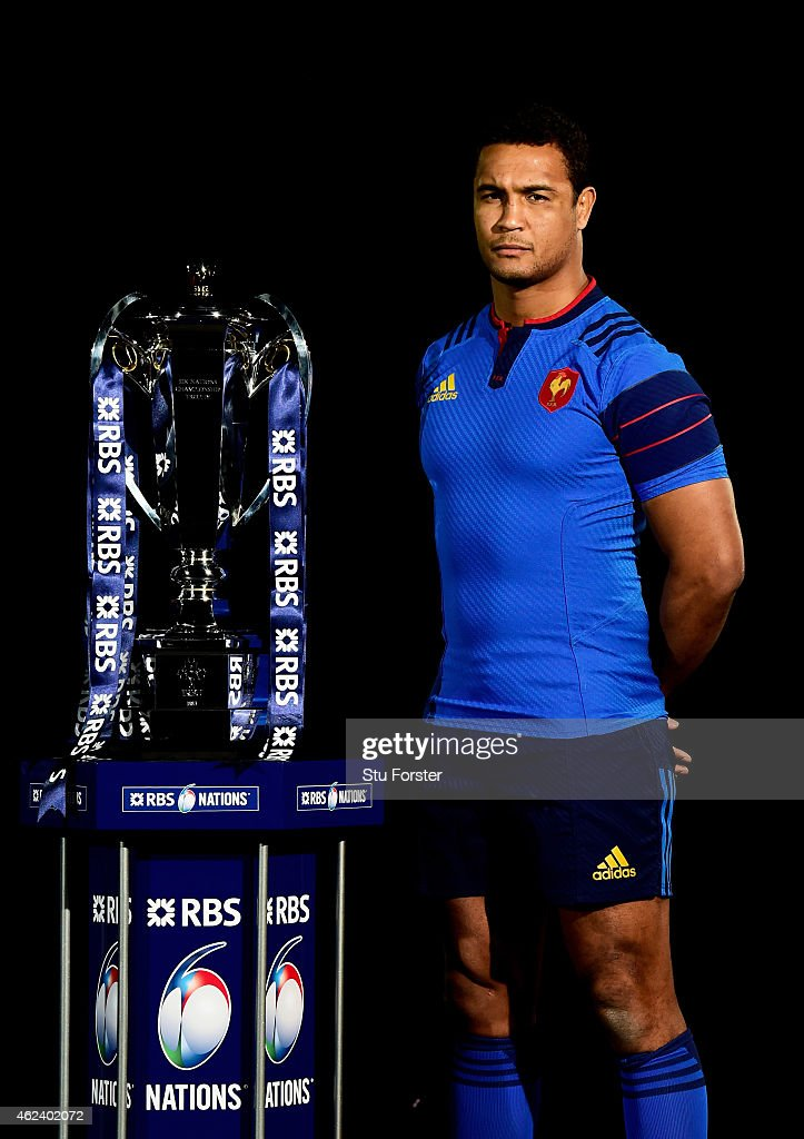 Thierry Dusautoir of France poses with the trophy during the launch of the 2015 RBS Six Nations at the Hurlingham club on January 28, 2015 in London, England.