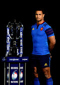 Thierry Dusautoir of France poses with the trophy during the launch of the 2015 RBS Six Nations at the Hurlingham club on January 28 2015 in London...