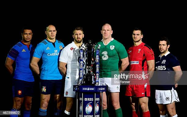Thierry Dusautoir of France Sergio Parisse of Italy Chris Robshaw of England Paul O'Connell of Ireland Sam Warburton of Wales and Greig Laidlaw of...