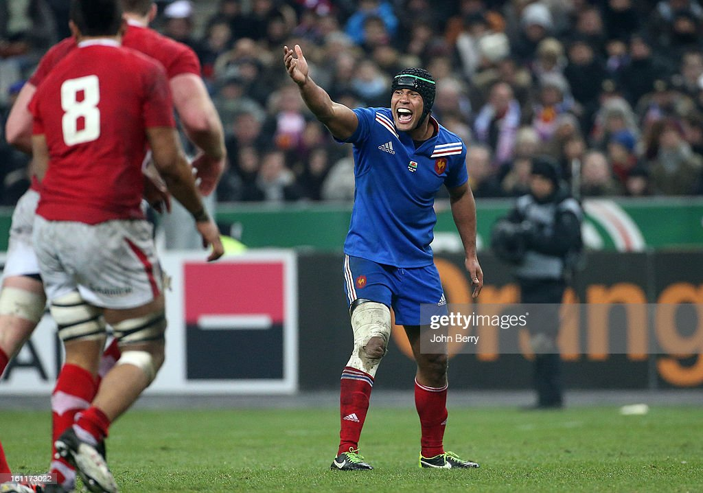 Thierry Dusautoir shows his frustration during the 6 Nations match between France and Wales at the Stade de France on February 9,, 2013 in Paris, France.