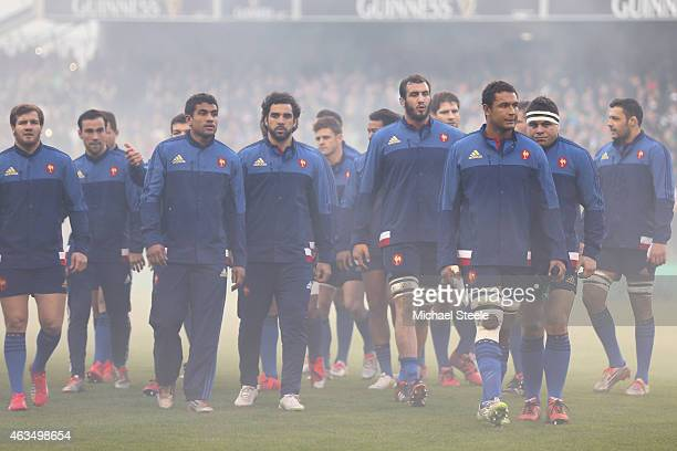 Thierry Dusautoir the captain of France leads his team ahead of the RBS Six Nations match between Ireland and France at the Aviva Stadium on February...