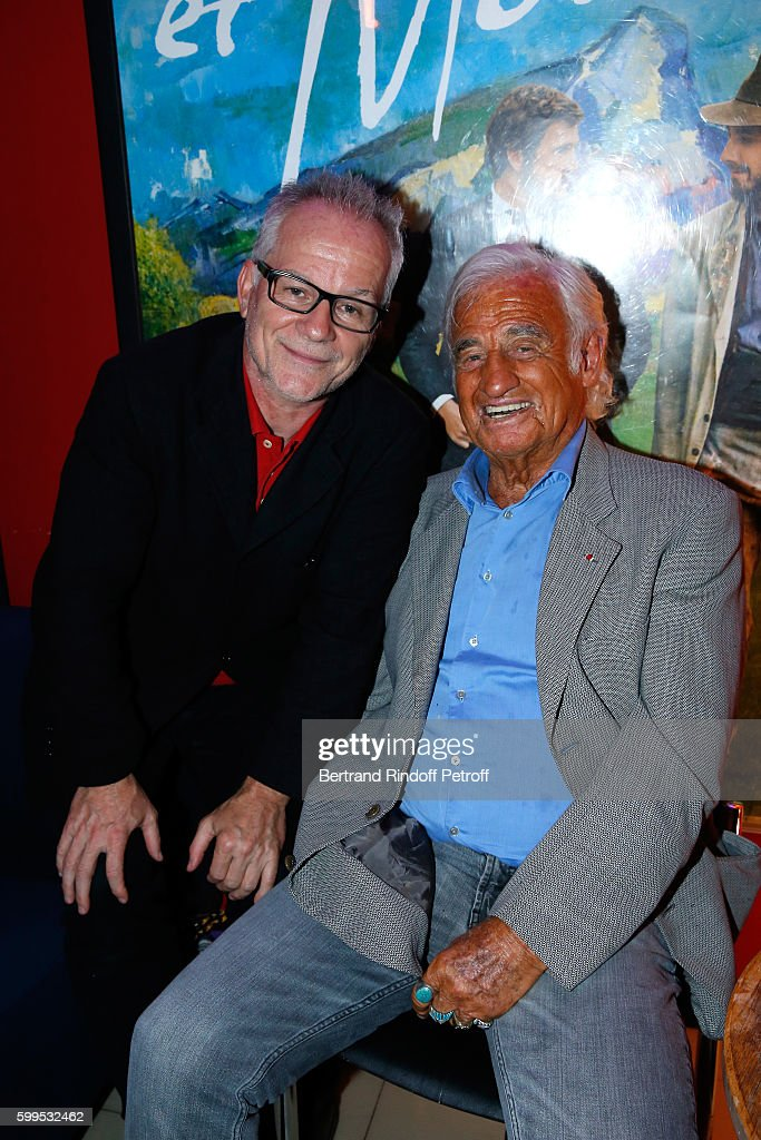 Thierry Fremaux and actor Jean-Paul Belmondo attend the 'Cezanne et Moi' Premiere on September 5, 2016 in Paris, France