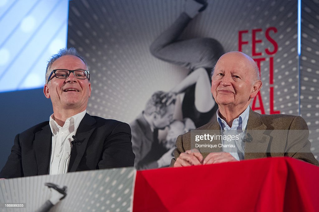 Thierry Fremaux and <a gi-track='captionPersonalityLinkClicked' href=/galleries/search?phrase=Gilles+Jacob&family=editorial&specificpeople=212799 ng-click='$event.stopPropagation()'>Gilles Jacob</a> attends the 66th Cannes Film Festival Official Selection Presentation - Press Conference at Cinema UGC Normandie on April 18, 2013 in Paris, France.