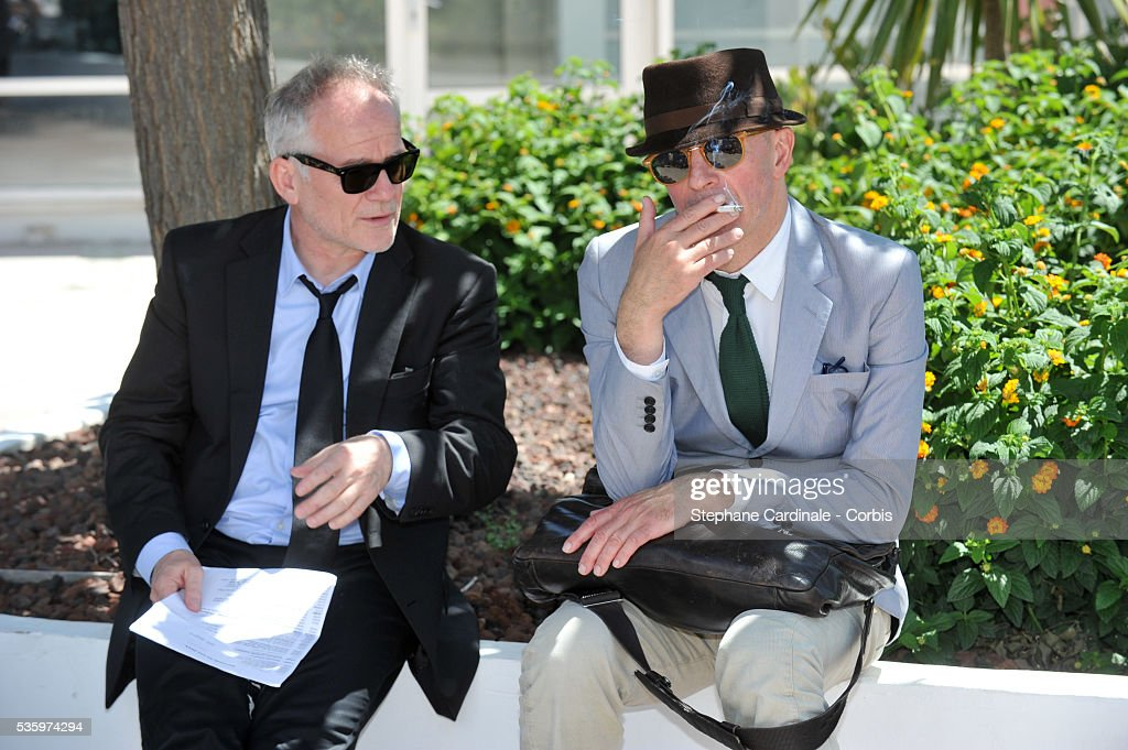 Thierry Fremaux and Jacques Audiard attends the Masterclass photocall during the 67th Cannes Film Festival
